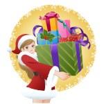 Beautiful woman wearing Santa costume holding gifts — Stock Vector