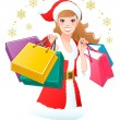 Close-up Santa Girl shopping Christmas gifts — Векторная иллюстрация