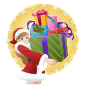 Beautiful woman wearing Santa costume holding gifts — Vector de stock