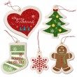 ストックベクタ: Christmas ornament tag collection