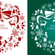 Christmas silhouette collection wreath — Grafika wektorowa