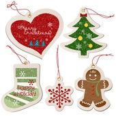 Colección de etiquetas de ornamento de navidad — Vector de stock