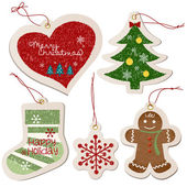 Christmas ornament tag collection — Stock Vector
