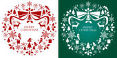 Christmas silhouette collection wreath — Vector de stock