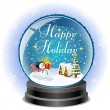 Snowman holding a gift box in snow globe with holiday message — Imagen vectorial