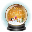 Orange Snow globe with holiday message — Stock Vector