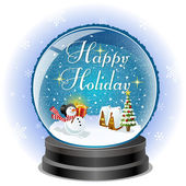 Snowman holding a gift box in snow globe with holiday message — Vector de stock