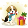 Stock Vector: Beagle dog biting ribboned bone with christmas present box