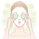 Young woman with facial mask applying sliced cucumber on her eyes — Stock Vector