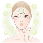 Pretty woman applying cucumber slice mask on her forehead — Stock Vector