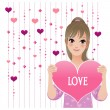 Girl showing loving heart on beaded curtain background — Stock vektor