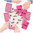 Couple with playing cards of  Love message — Image vectorielle