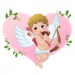 coração de snibbling de Cupido de maldade em forma de chocolate — Vetorial Stock