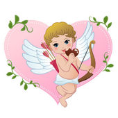 Mischief cupid snibbling heart shaped chocolate — Stock Vector
