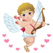 Flying Cupid with hearts — Stock Vector