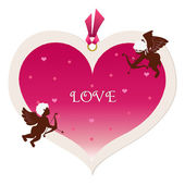 Big heart tag and cupids — Stock Vector