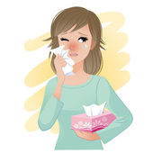 Watery eyed woman holding facial tissue box — Vector de stock
