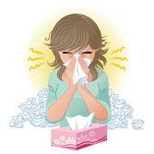 Soffiando il naso — Vettoriale Stock