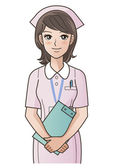Young cute nurse with clipboard smiling — Stock Vector