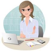 Femme d'affaires jolie au bureau — Vecteur