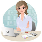 Pretty business woman at office — Vector de stock