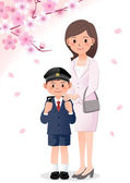 Mother and son on cherryblossom background — ストックベクタ