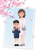 Mother and son under cherryblossom tree — ストックベクタ