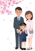 Family under cherry blossom trees — Stockvector