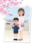 Mother and son under cherryblossom tree — Vector de stock