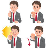 Businessman with gestures of thumbs up and down — Stock Vector