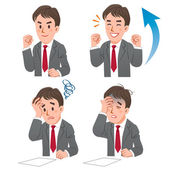 Businessman expressing rejoice and confuse — Stock Vector