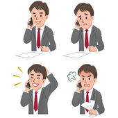 Expression of Businessman talking on the phone — Vector de stock