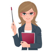 Smart female lecturer smiling with pointer stick — Stock Vector