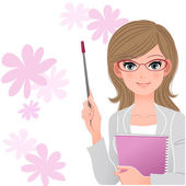 Cute lecturer holding pointer stick on flower background — Vector de stock