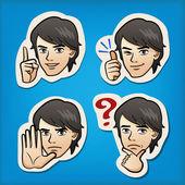 英俊的男人不同的面部表情 — 图库矢量图片