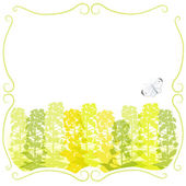 Framed Canola flower silhouettes and a butterfly — Stock Vector