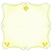 Stem shaped frame decoration with rape blossoms — Stock Vector