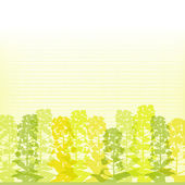 Rape blossom silhouettes on lined background — Vector de stock