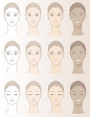 Chart of Beautiful Woman complexion — Vecteur