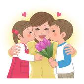 Chico y chica besando a mamá — Vector de stock