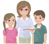 Young school teacher and happy pupils — Stock Vector