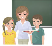 Insegnante di scuola leggendo ad alta voce per gli alunni — Vettoriale Stock