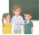 Okul öğretmen öğrenciler için yüksek sesle okuma — Stok Vektör