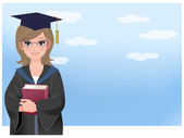 Happy graduating student holding disloma against blue sky — Stockvector