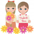 Little girls holding thank you sign and flowers — Stok Vektör #24534825