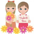 Little girls holding thank you sign and flowers - Stock Vector