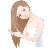 Mujer aplicando aceite para el cabello a su largo cabello — Vector de stock