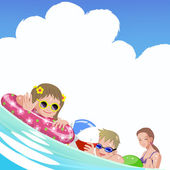 Family with children at sea on summer holiday — Stock Vector