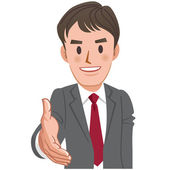 Cartoon businessman handshake — Vector de stock