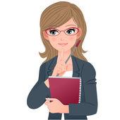 Insegnante di occhiali occhiali toccare il mento con indice fingher — Vettoriale Stock
